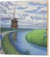 Holland Windmill Bike Path Wood Print