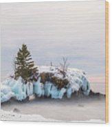 Hollow Rock Winter Wood Print