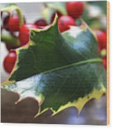 Holly Berries- Photograph By Linda Woods Wood Print