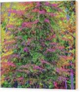 Holly Jolly Tree Wood Print