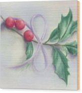 Holly Sprig With Bow Wood Print