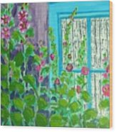Hollyhock Surprise Wood Print