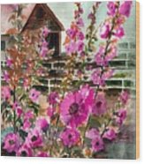 Hollyhocks And Barn Wood Print
