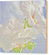Hollyhocks And Sky Wood Print