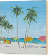 Hollywood Beach Florida And Coconut Palms Wood Print