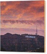 Hollywood Sign At Sunset Wood Print