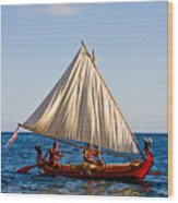 Holokai - Pacific Islander Sailing Canoe Wood Print