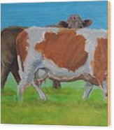 Holstein Friesian Cow And Brown Cow Wood Print