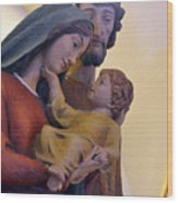 Holy Family Statue Wood Print