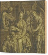 Holy Family With Angels Wood Print