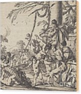 Holy Family With Putti Wood Print