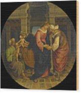 Holy Family With Saints John Elisabeth And Zacharias Wood Print