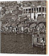 Holy Ganges Monochrome Wood Print