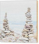 Holy Island Pebbles Wood Print