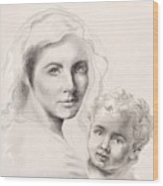 Holy Mary And Christ Child Wood Print