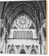 Holy Name Cathedral Chicago Bw 06 Wood Print
