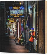 Holy Smoke Bourbon Street Wood Print