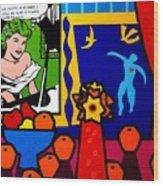 Homage To Lichtenstein And Matisse Wood Print