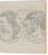 Homalographic World Map  Wood Print