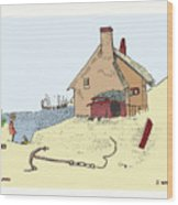 Home By The Sea Wood Print by Donna Munro
