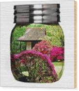 Home Flower Garden In A Glass Jar Art Wood Print