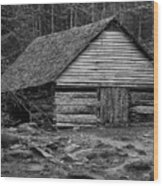 Home In The Woods Bw Wood Print
