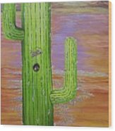 Home Sweet Cactus Wood Print