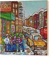 Home Town Painting St Viateur Bagel Street Scene Coca Cola Truck Montreal 375 Carole Spandau Art     Wood Print