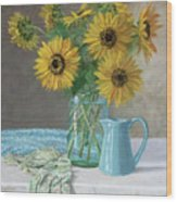 Homegrown - Sunflowers In A Mason Jar With Gardening Gloves And Blue Cream Pitcher Wood Print
