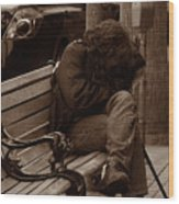 Homeless - Sepia Wood Print