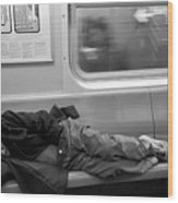 Homeless In Motion In Black And White Wood Print