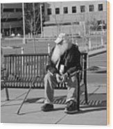 Homeless Man Wood Print
