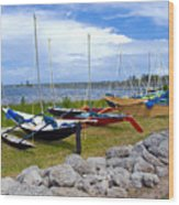 Homemade Outriggers Canoes On The Indian River Lagoon In Florida Wood Print