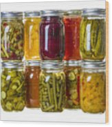 Homemade Preserves And Pickles Wood Print