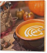 Homemade Pumpkin Soup On A Rustic Table With Autumn Decorations Wood Print