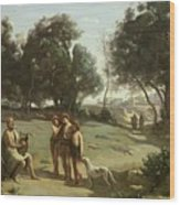 Homer And The Shepherds In A Landscape Wood Print