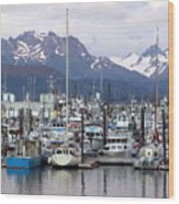 Homer Harbor Wood Print