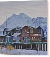 Homer Spit Board Walk Winter Moments Wood Print
