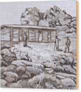 Homestead On Brush Creek Historical Vignette Wood Print