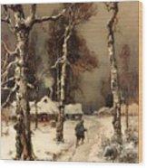 Homeward Through The Winter Forest Wood Print