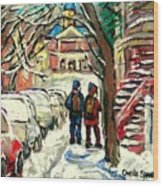 Original Art For Sale Montreal Petits Formats A Vendre Walking To School On Snowy Streets Paintings Wood Print
