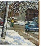 Original Canadian Art For Sale Scenes D'hiver Ville De Montreal Apres La Tempete Montreal Scenes Wood Print