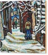 Buy Original Paintings Montreal Petits Formats A Vendre Scenes Man Shovelling Snow Winter Stairs Wood Print