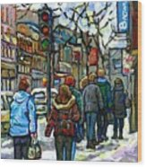 Promenade Au Centre Ville Rue Ste Catherine Montreal Winter Street Scene Small Paintings  For Sale Wood Print