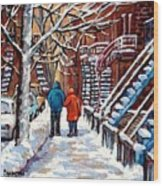 Promenade En Hiver Winter Walk Scenes D'hiver Montreal Street Scene In Winter Wood Print