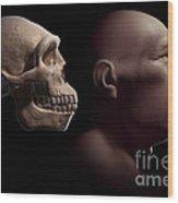 Homo Erectus With Skull Wood Print