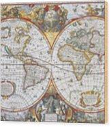 Hondius World Map, 1630 Wood Print by Photo Researchers