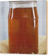 Honey In Clear Glass Jar Wood Print