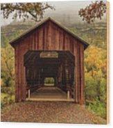 Honey Run Covered Bridge In Autumn Wood Print