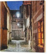 Honfleur Street At Night Wood Print